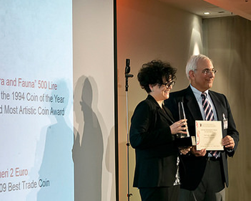 Maria Carmela Colaneri of Italy's Istituto Poligrafico e Zecca dello Stato received the Krause Lifetime Achievement Award in Coin Design at the World Mint Director's Conference held in Berlin on January 31. She accepted the award in Italian to great applause.