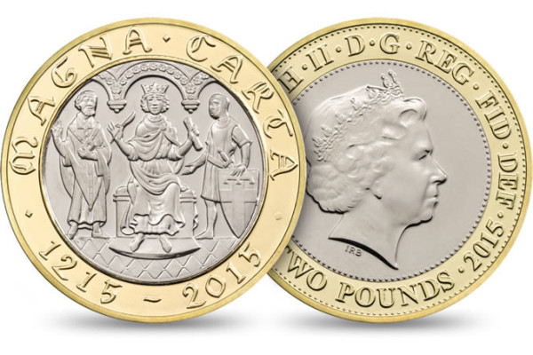 The 800th Anniversary of the magna carter coin from http://www.royalmint.com/shop/800th_Anniversary_of_Magna_Carta_2015_UK_2_pound_BU_Coin