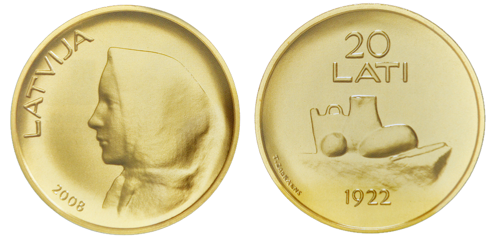 Latvia 20 Lati Gold KM#96 Image