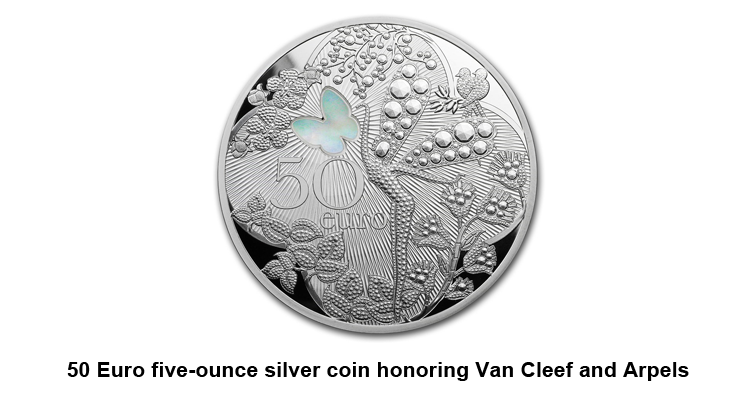 50 Euro five-ounce silver coin honoring Van Cleef and Arpels
