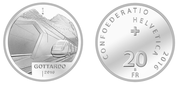 Best Contemporary Event Coin Switzerland / 20 Francs silver / Gottardo Tunnel