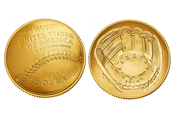 Baseball gold $5 coin